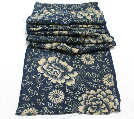 Antique Japanese Boro Textile. Handwoven Katazome by FurugiStar
