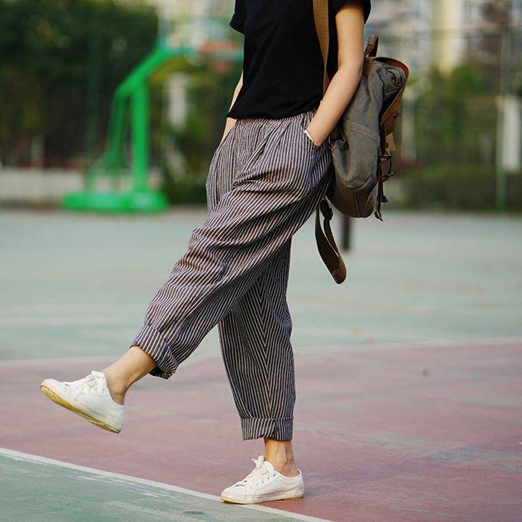 Calças Para As Mulheres 2016 Primavera & Verão Calças De Linho Soltas Calças Harem Pants Femininos das Mulheres Listrado Calças 2 Cores em Calças de Moda e Acessórios no AliExpress.com   Alibaba Group