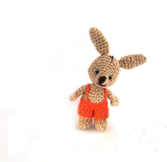 $33.48 AMIGURUMI BUNNY, Easter decoration, rabbit doll, crocheted miniature rabbit, amigurumi tiny bunny, little #bunny doll, home decor for #Easter, handmade by crochAndi
