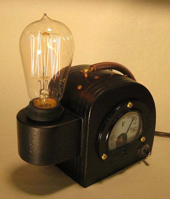 Steam Punk Science Art Deco Machine Age  Edison Lamp by BretJames, $245.00