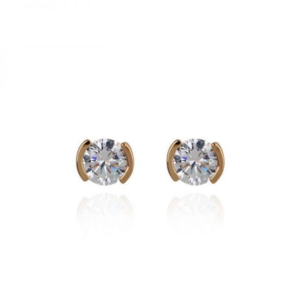 Sterling Silver Jewelry By CS-DB Trendy Lady Charm Clear Round Cubic Zircon Feather Leaf Stud Earrings