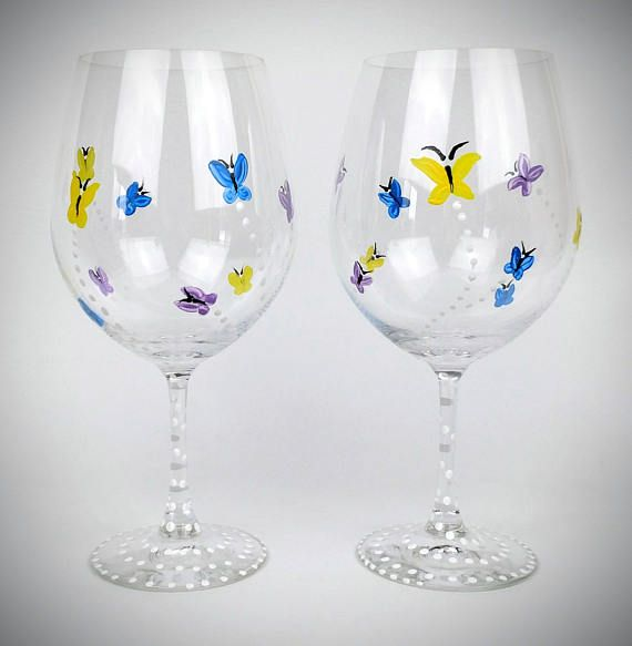 Check out Painted butterfly wine glasses, spring wine glasses, Waterford Wine Glass, set of 2, Hand Painted Wine glass, High Quality, large wine glass on jodistuff