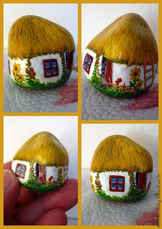 Купить украинская хатка - желтый, хата, подсолнухи, сувениры ручной работы, подарок на любой случай
