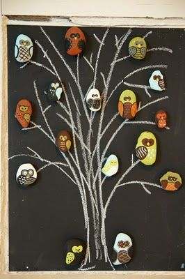 Hand painted owl rock magnets. These are just TOO cute for words!