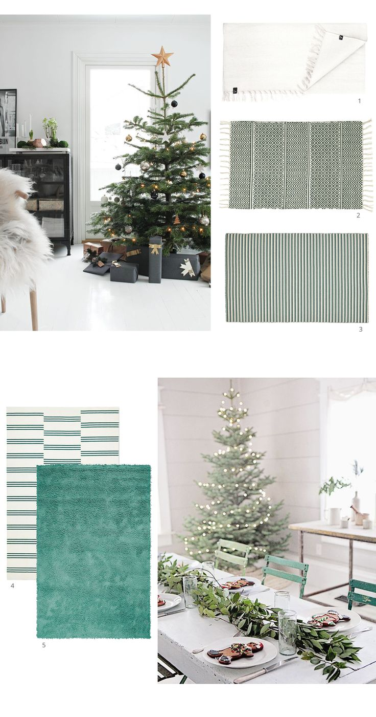 Scandinavian festive inspiration from Skandihome and Skandiblog this Christmas - featuring green and white rugs we think are perfect for decking the halls!