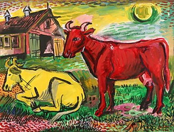 'Red and Yellow Cows', 1945 by David Burliuk (1882-1967, Ukraine)