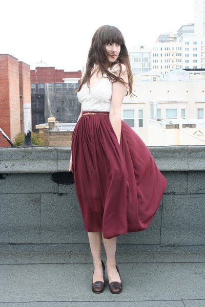 swooshy midi skirt