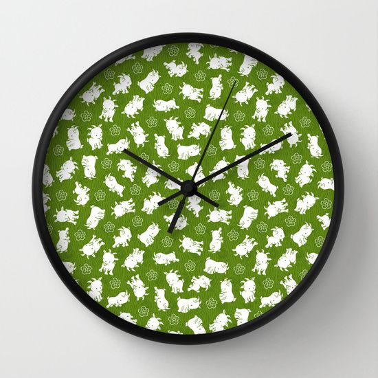 Ditsy Goat Green Wall Clock