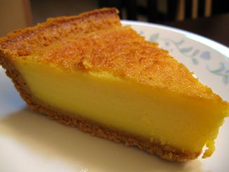Egg Custard Pie - Made with eggs, sweetened condensed milk, vanilla extract, almond extract, and nutmeg.