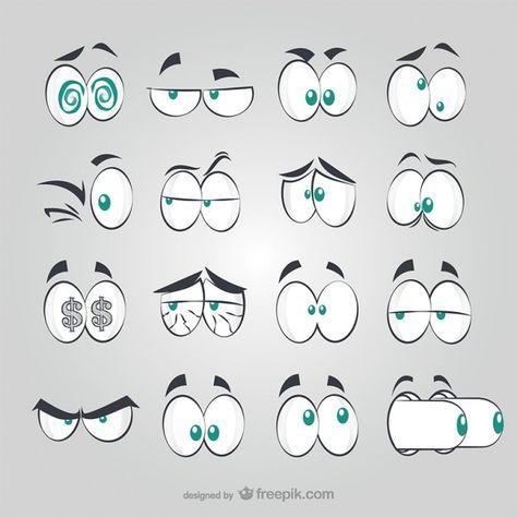 Comic Augen Stil Kostenlose Vektoren