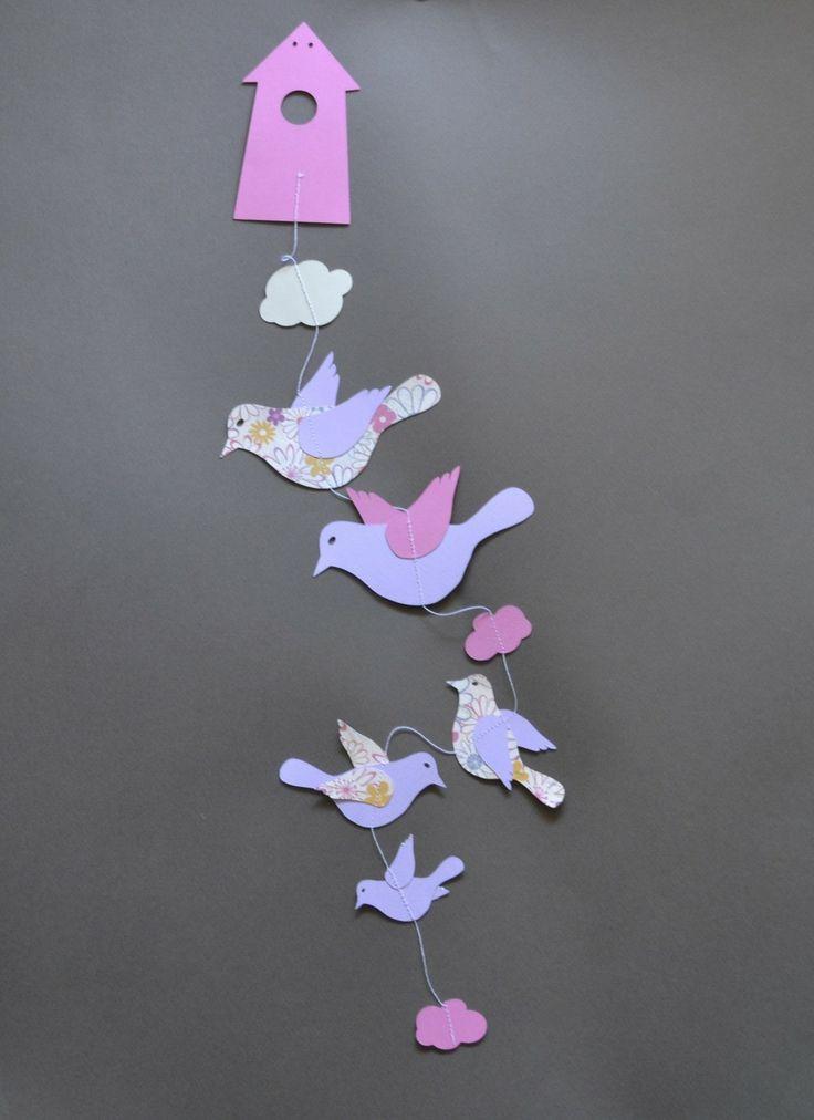 Guirlande en papier, nichoir oiseau, décoration chambre d'enfant : Décoration pour enfants par de-tout-petits-riens