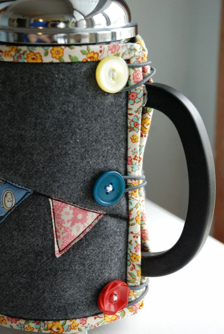 french press cozy:  This is the last thing I need, and I don't even have a french press, but the design is very cute.