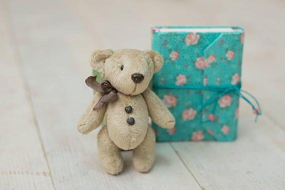 OOAK Miniature teddy Bear with buttons height 13 cm
