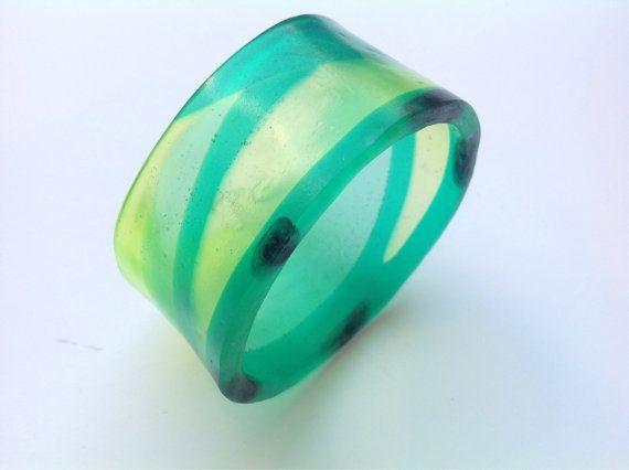 Green lime black resin bangle bracelet by BBsArtandDesign on Etsy, $50.00