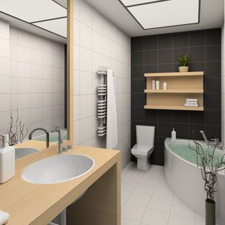 Putting shelves above the toilet and bathtub helps create a stylish space to sto…   – most beautiful shelves