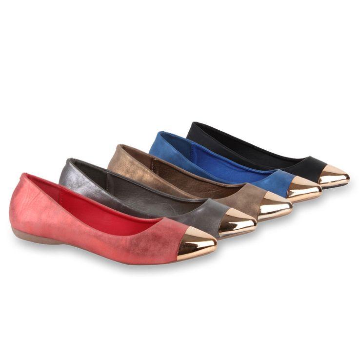 Damen Ballerinas Metallic Gold Spitze Slippers Schuhe 98437 Gr. 36-41