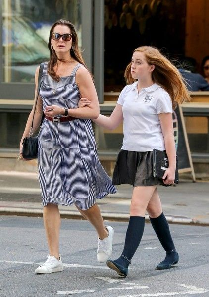 Brooke Shields Photos - Actress Brooke Shields was seen taking a stroll with her daughter, Rowan, through the Soho district of New York City, New York on June 15, 2016. Brooke was wearing a striped knee-length dress and Rowan was wearing her school uniform. - Brooke Shield Takes A Stroll With Her Daughter
