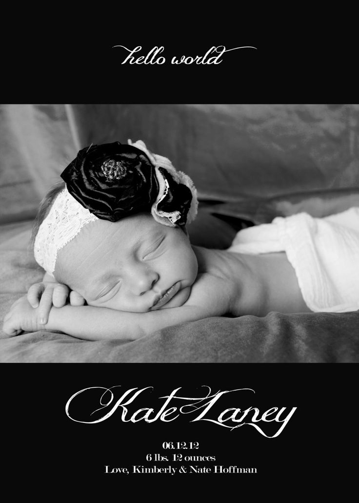 39 best Baby Announcements images – Black and White Birth Announcements