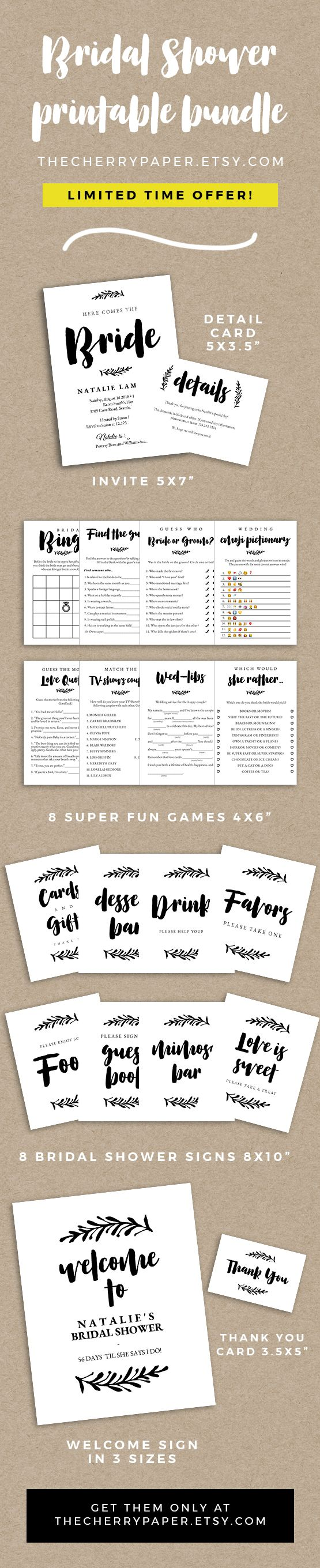 COMPLETE bridal shower printable, package, invite, invitation, bridal shower, bridal party, bachelorette party, game, printable, instant download, details card, detail card, bridal shower bingo, bridal shower find the guest, bride or groom, bridal emoji pictionary, movie love quotes, tv shows couple, madlibs, would she rather, bridal shower signs, party signs, bridal shower welcome sign, thank you card, thank you note, instant download