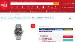 [Extra.com.br] Relógio Masculino Analógico Automático Orient 469SS051 G3SX - Prata 6345820 - de R$ 411,37 por R$ 389,52 (5% de desconto)