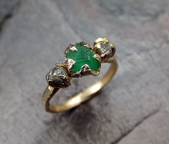 three raw stone diamond emerald engagement ring 14k by byangeline 119500 - Stone Wedding Rings