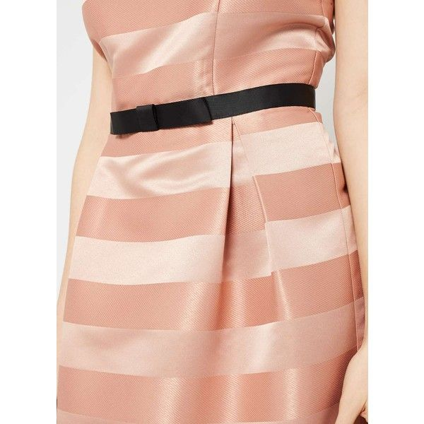 Miss Selfridge Pink Stripe Prom Dress ($68) ❤ liked on Polyvore featuring dresses, pink, pink striped dress, prom dresses, striped dress, striped fit and flare dress and pink dress