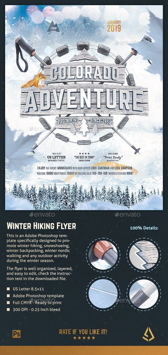 Winter Hiking Flyer Snowshoeing Poster Outdoor Template Sports Events Events Flyer Winter Hiking Flyer Traveling By Yourself