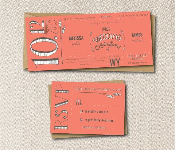 SAMPLE Coral Rustic Wedding Invitation Set: Invite and RSVP, Kraft Paper envelopes, Handlettered, Custom