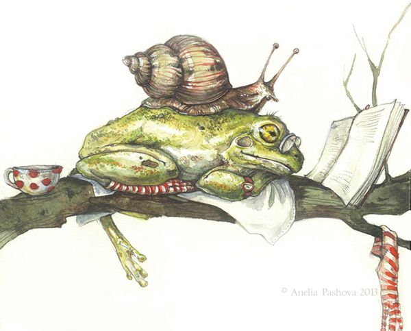 Animals With Hobbies by Anelia Pashova, via Behance. Adorable frog #art