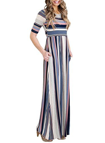 New Trending Formal Dresses: Annflat Womens Short Sleeve Empire Waist Casual Long Dress Striped Maxi Dresses Medium White. Annflat Women's Short Sleeve Empire Waist Casual Long Dress Striped Maxi Dresses Medium White  Special Offer: $19.99  144 Reviews Annflat Women's Short Sleeve Empire Waist Casual Long Dress Striped Maxi DressesShow off your curves in our striped maxi dress. It features a...