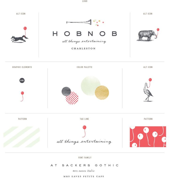 Stitch Design Co. - Identity for Hob Nob with charming, interchangeable graphic icons.