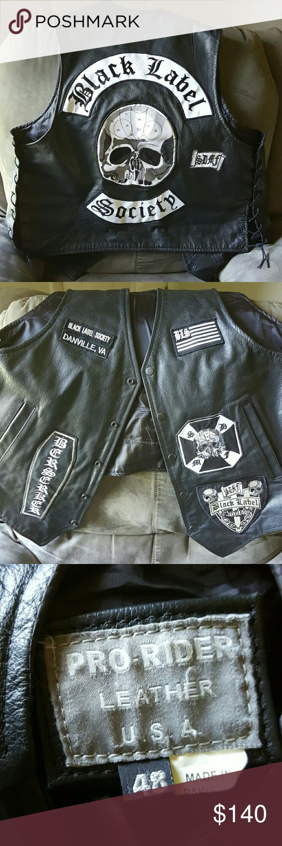 Black Label Society Leather Vest This was custom made for my guitarist.  You can't buy one like this from zakk wyldes website. The Danville va patch can easily be removed or replaced with your own city. It's a men's size 48. Genuine leather. Jackets & Coats Vests