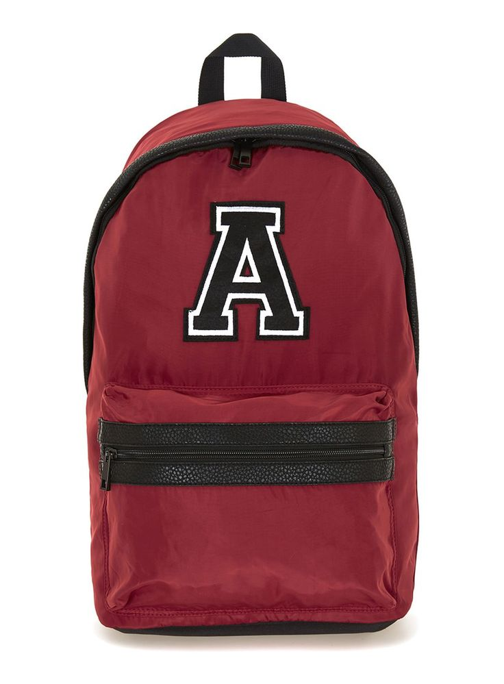 Red Embroidered Detail Nylon Backpack