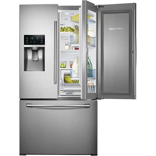 samsung showcase 27 8 cu ft french door refrigerator with thru th. Black Bedroom Furniture Sets. Home Design Ideas