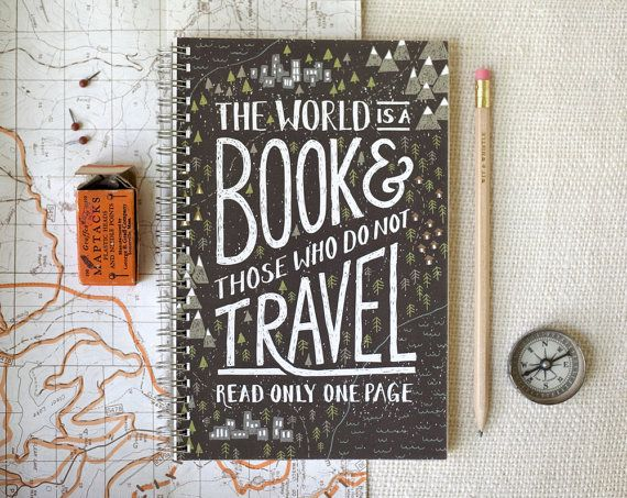 See the world!  Spiral Notebook Journal  Travel by witandwhistle on Etsy, $14.00