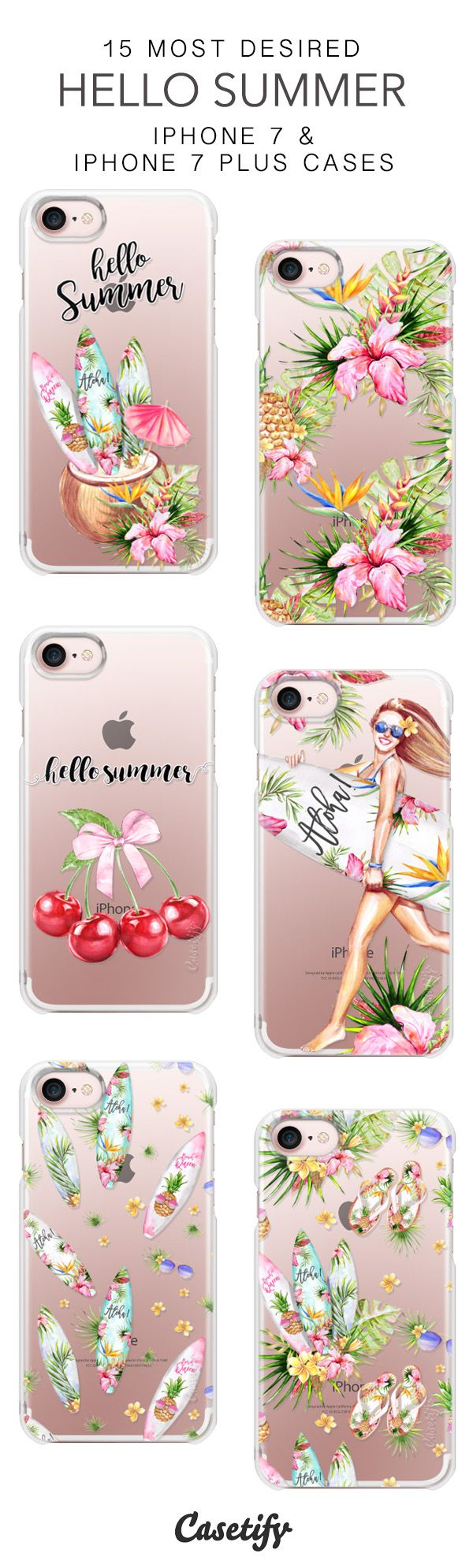 15 Most Desired Hello Summer Protective iPhone 7 Cases and iPhone 7 Plus Cases. More Summer iPhone case here > https://www.casetify.com/collections/top_100_designs#/?vc=Vq12lzZF1T