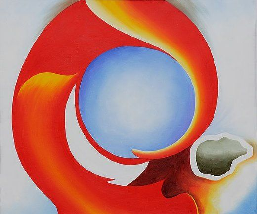georgia o'keeffe   georgia o keeffe goat s horn with red painting