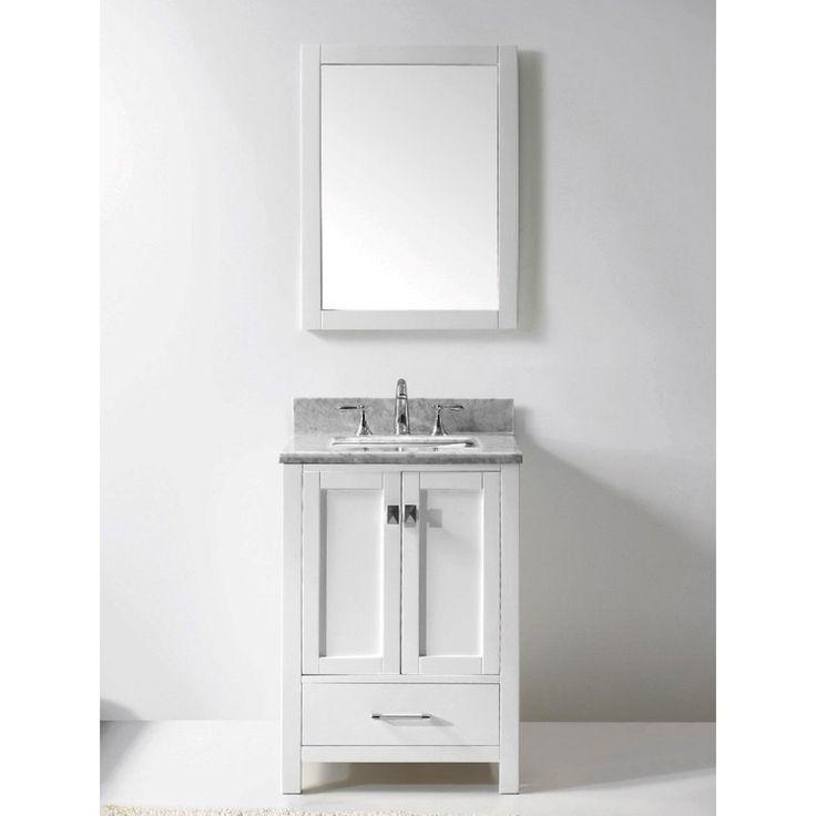 diy distressed bathroom vanity%0A Eviva Aberdeen White Bathroom Vanity with White Carrera Countertop  Eviva  Aberdeen    White Bathroom Vanity   Size Single Vanities