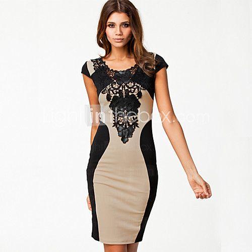 monta contrasterende kleur slim fit jurk met kanten kraag | LightInTheBox