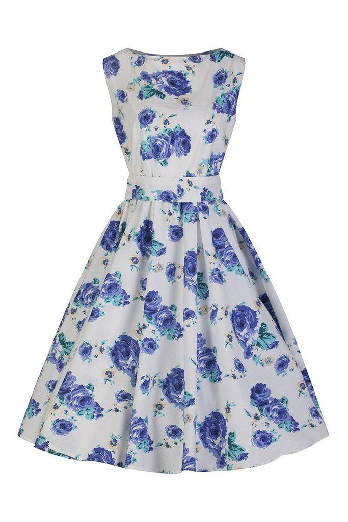 White and Blue Floral Audrey Swing Dress