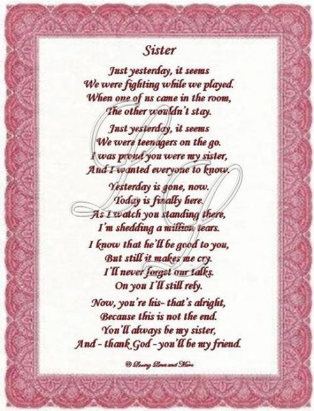 Poem Sister Wedding, Poems For Sisters Wedding, Sisters Poems, Sister ...