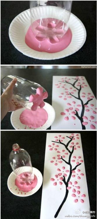 Cool way to paint easy flowers.  DIY