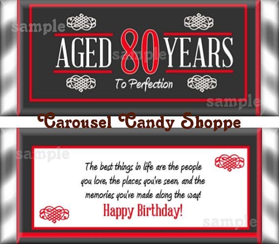 80th Birthday Party Favors Hershey's Candy by carouselcandyshoppe