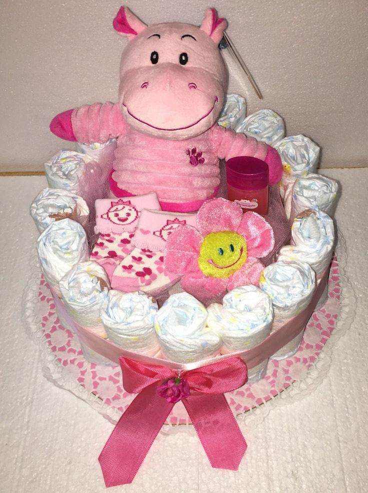 Windeltorte rosa Babygeschenk Geburt Taufgeschenk Mädchen   | eBay