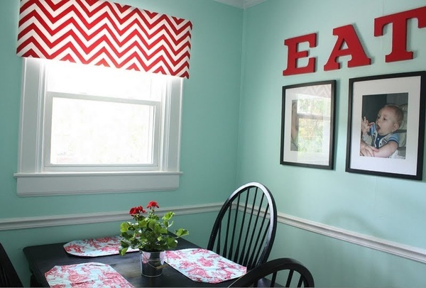 Aqua, red, and black eating area with chevron valance.