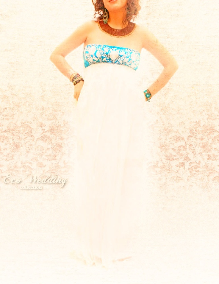 Querubin Mexican embroidered Maxi dress turquesa. $280.00, via Etsy.