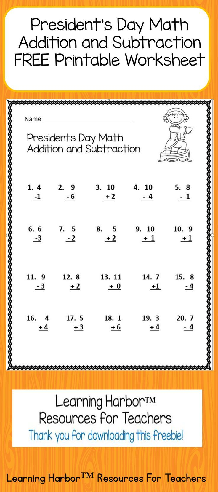 This Presidents Day math resource is great for bell ringers, morning work, sub tub or anytime you need a quick activity.