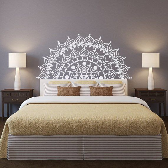New Headboard Mandala Removable Wall Decal Bedroom Decor Half Etsy In 2020 Wall Decals For Bedroom Removable Wall Decals Removable Wall