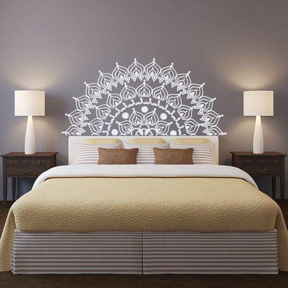 New Headboard Mandala Removable Wall Decal Bedroom Decor Half Mandala Vinyl Wall Decal Lotus Flower Mandala Decal