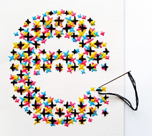 Embroidered CMYK typhography. Great idea.